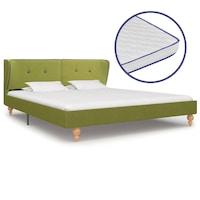 vidaXL zöld szövetágy 5 rétegű memóriahabos matraccal 160 x 200 cm