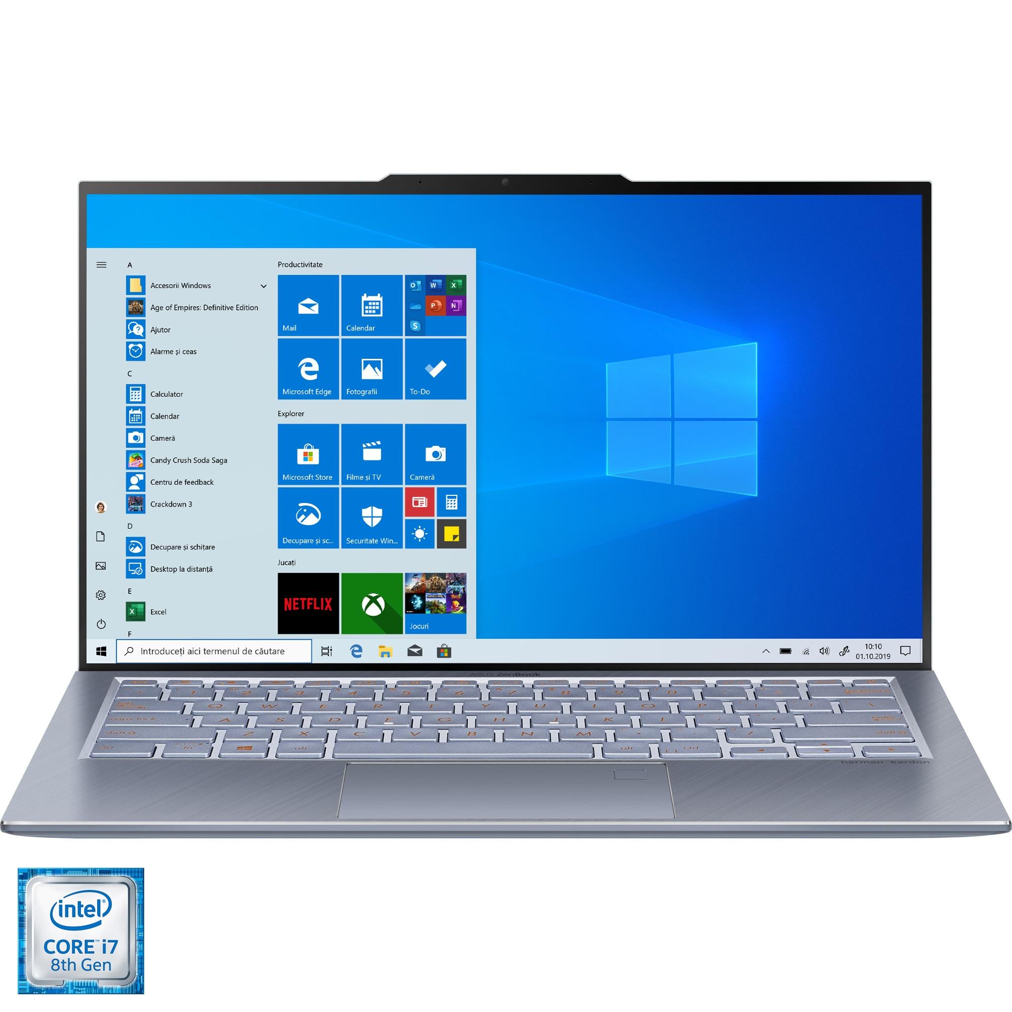 "Fotografie Laptop ultraportabil ASUS ZenBook S13 UX392FN cu procesor Intel® Core™ i7-8565U pana la 4.60 GHz Whiskey Lake, 13.9"", Full HD, 16GB, 512GB SSD, NVIDIA GeForce MX150 2GB, Windows 10 Home, Utopia Blue"