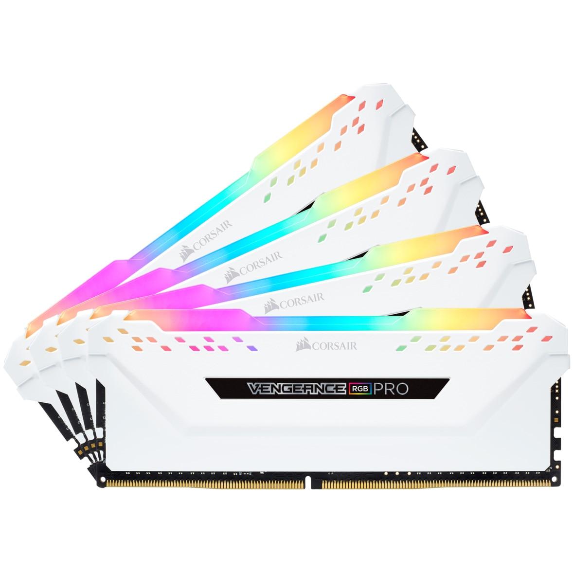 Fotografie Memorie Corsair Vengeance RGB PRO White 32GB, DDR4, 3600MHz, CL18, Quad Channel Kit