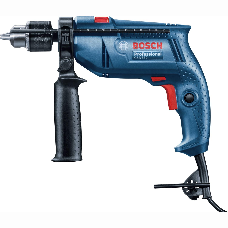 Fotografie Masina de gaurit si insurubat (bormasina) cu percutie Bosch Professional GSB 550, 550 W, 2800 RPM, 41.800 PPM, limitator adancime, mandrina cu coroana dintata, maner suplimentar