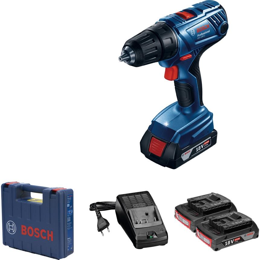 Fotografie Masina de gaurit si insurubat (bormasina) pe acumulator Bosch Professional GSR 180 Li, 18 V, 1900 RPM, 21/54 Nm, 20+1 trepte torsiune, 2 acumulatori, incarcator, valiza profesionala