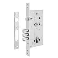 Bejárati ajtó zár, süllyesztve, 60 x 85 mm, europrofil hengerhez, horganyzott - alkalmas fém ajtókhoz (szögletes fogantyú nélkül)