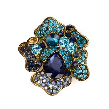 Brosa dama floare vintage , albastru