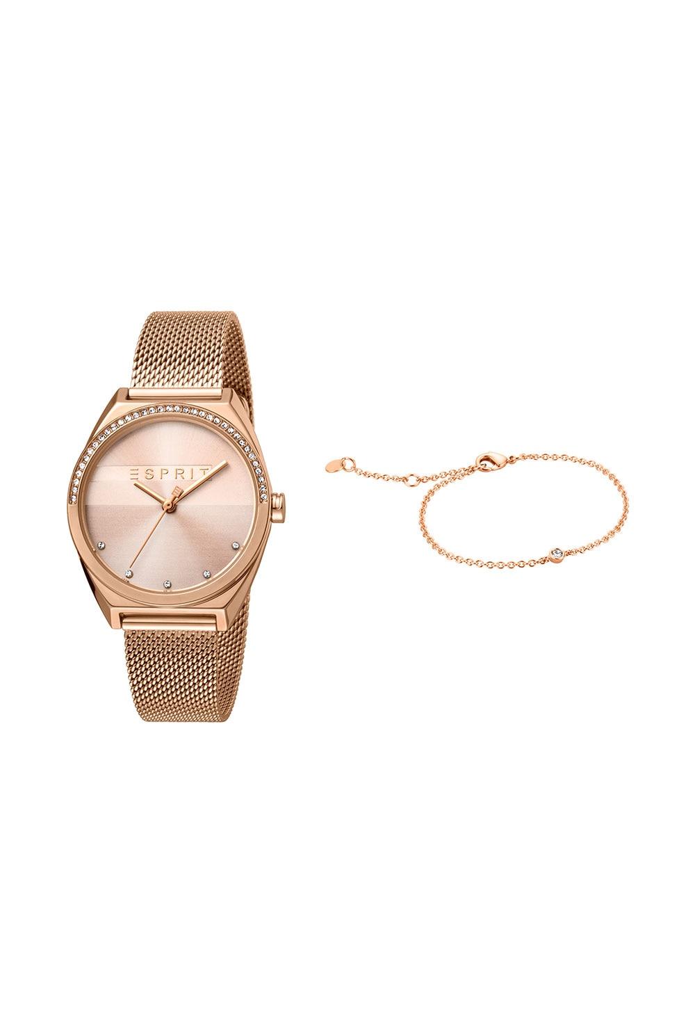 Fotografie Esprit, Set de ceas si bratara, Auriu rose