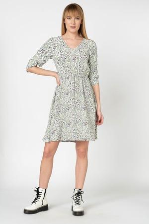 Vero Moda, Vilma virágmintás bővülő ruha, Fehér/Zöld, S