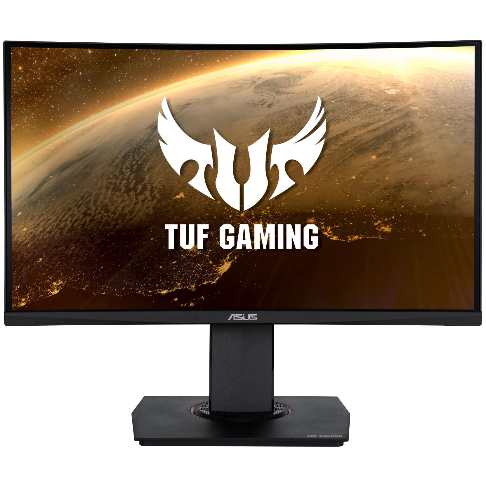 "Fotografie Monitor Curbat Gaming LED VA Asus TUF 23.6"", 144Hz, 1ms, Full HD, Display Port, FreeSync, Negru, Pivot, VG24VQ"