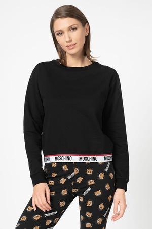 Moschino, Bluza de pijama cu terminatie elastica cu logo, Negru