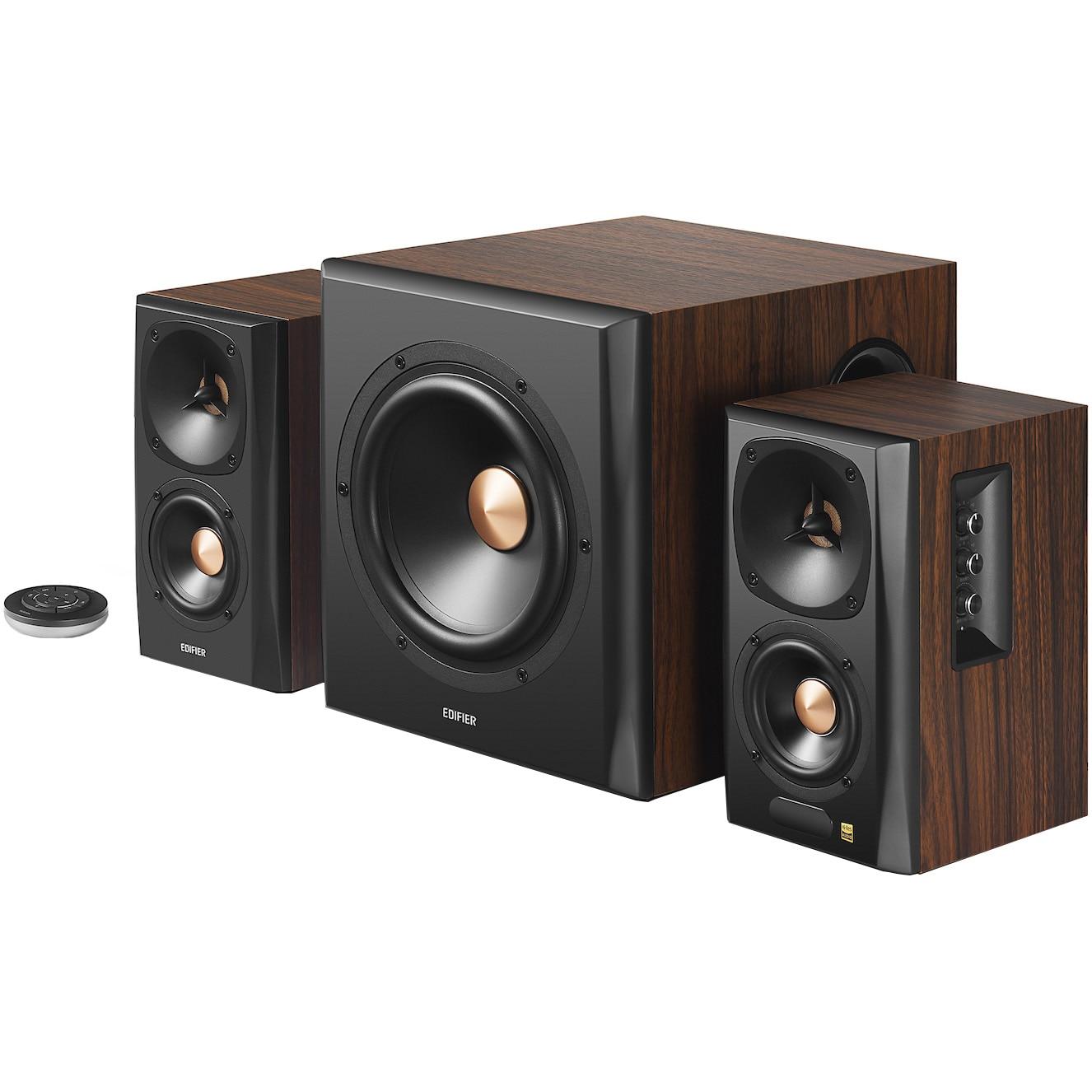 Fotografie Boxe Edifier 2.1 S360DB, 155W, Bluetooth, Telecomanda, Brown