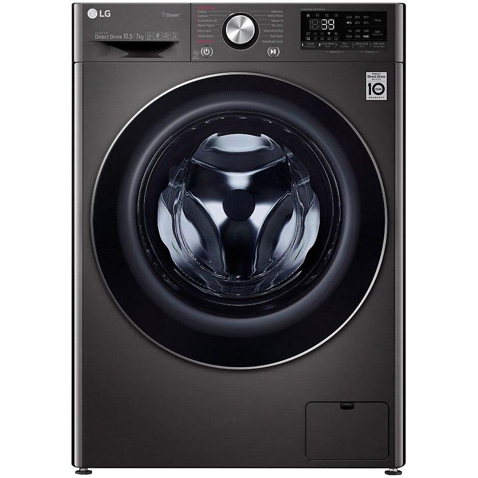 Fotografie Masina de spalat rufe cu uscator LG F4DV910H2S, Spalare 10.5 kg, Uscare 7 kg, 1400 RPM, Clasa A, Motor AI Direct Drive Inverter, Turbowash, Steam+, Negru