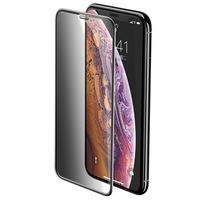 Folie din Sticla Securizata Full Privacy - iPhone 11 Pro Max / XS Max, Baseus Rigid Edge, Rama Intarita, 3D 9H, Sticla 0.3 mm, Premium