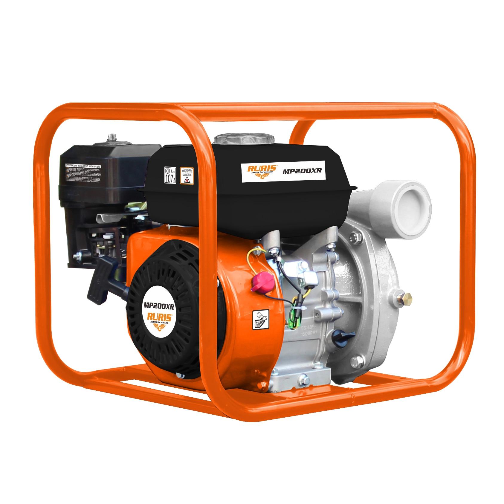 "Fotografie Motopompa RURIS MP200XR, 6.5 CP, 196 CC, 4 timpi, 2"" prindere furtun, 30 m3/h debit maxim, 8 m adancime absorbtie, 65 m refulare verticala, 650 m refulare orizontala, 3.6 l benzina"