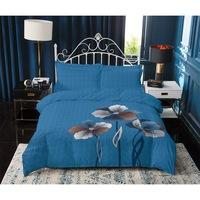 7Mall - SENDIA® Nagy virágmintás pamut 7 részes ágyneműhuzat - kék
