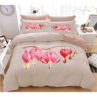 7Mall - SENDIA® 3D Nagy virágmintás 7 részes ágyneműhuzat – Rózsaszín nagy szívvirág