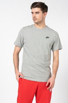 Nike, Tricou cu logo brodat Club, Gri/Negru