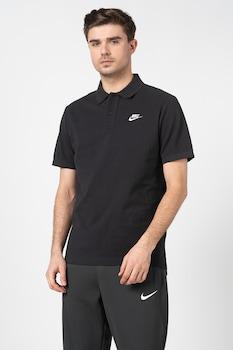Nike, Tricou polo cu logo brodat, Negru stins
