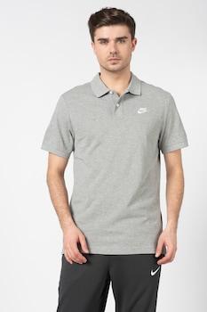 Nike, Tricou polo cu logo brodat, Gri melange
