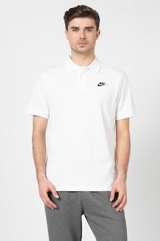 Nike, Tricou polo cu logo brodat, Alb