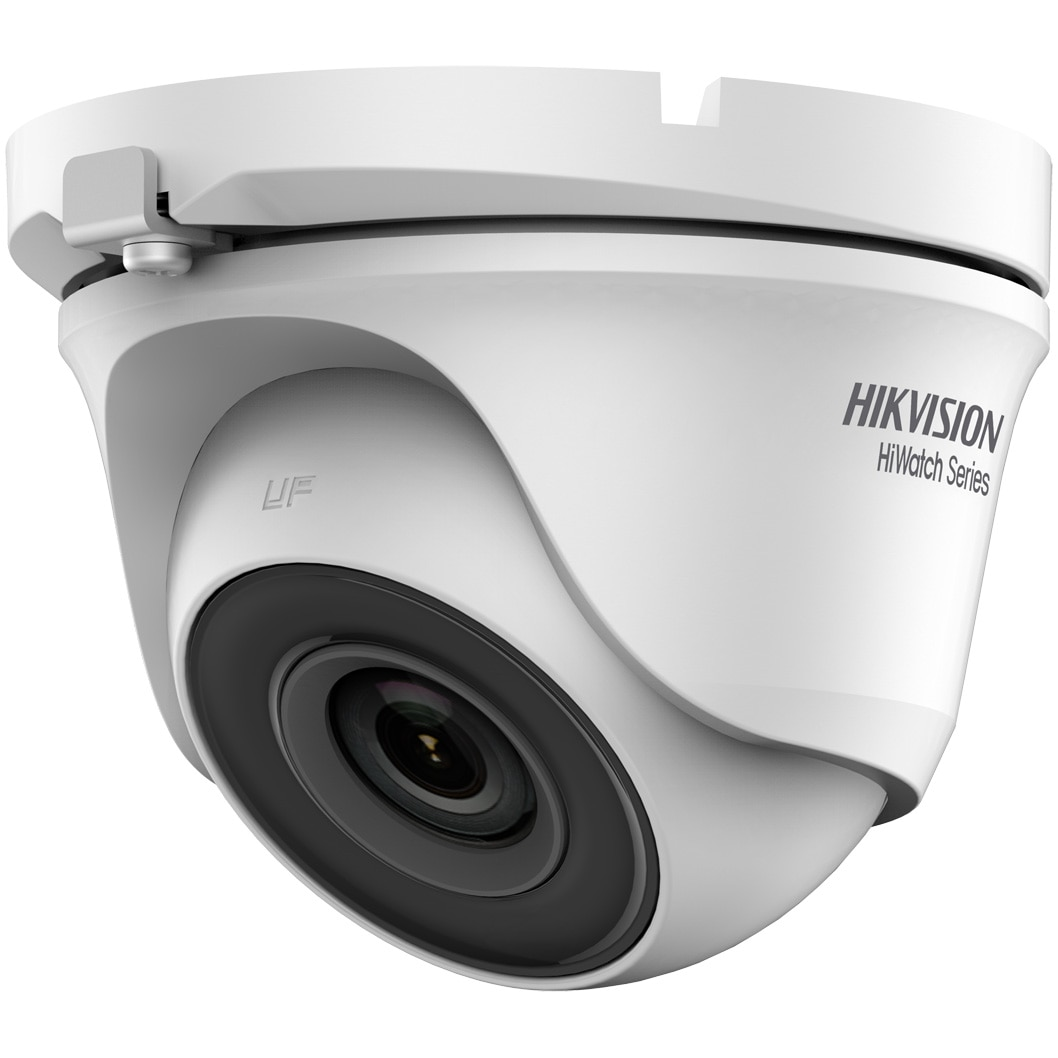 Fotografie Camera de supraveghere Hikvision HiWatch Turbo HD Dome, 1MP, 2.8mm Lens, 20m IR, Outdoor EXIR Eyeball, IP66, carcasa metal, Alb