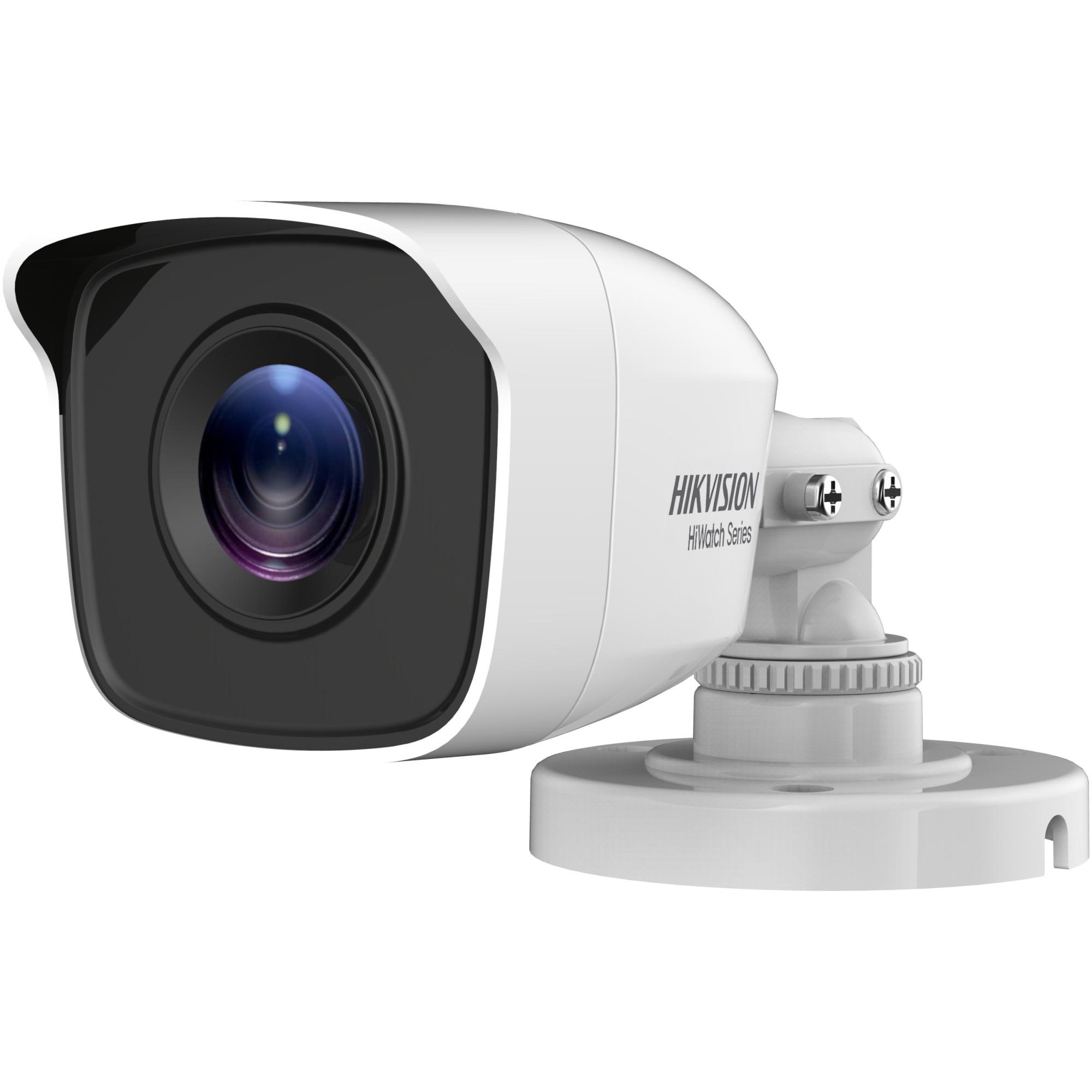 Fotografie Camera de supraveghere Hikvision HiWatch Turbo HD Bullet, 4MP, 2.8mm Lens, EXIR Bullet, 20m IR, IP66, carcasa metal, Alb