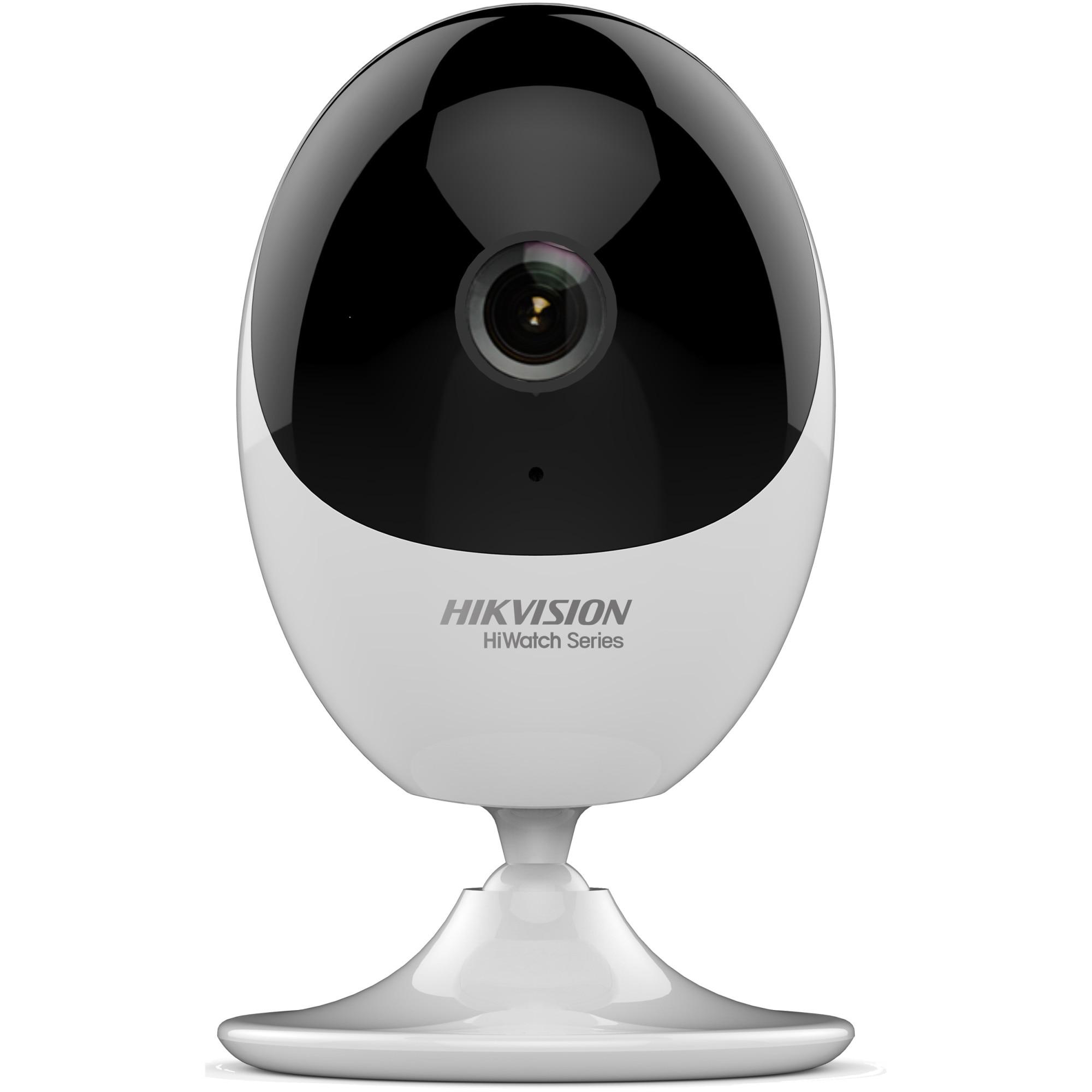 Fotografie Camera de supraveghere Hikvision HiWatch IP cube HWC-C120-D/W, 2MP, lentila 2.8mm, WIFI, IR 10m, Microfon si difuzor incorporat, Mobile Monitoring, Alb/Negru