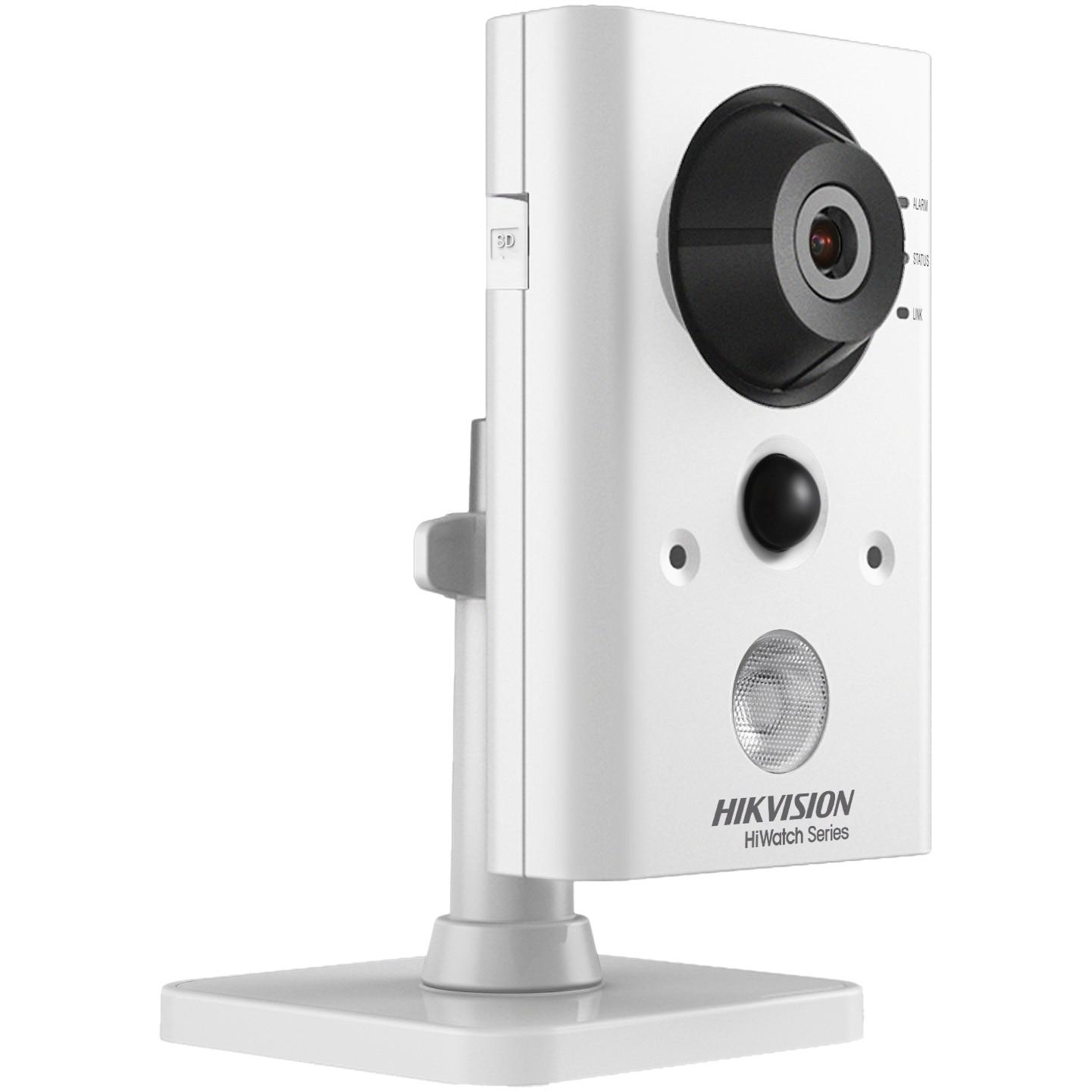 Fotografie Camera de supraveghere Hikvision HiWatch IP Cube, 2MP, lentila 2.8mm, WIFI, IR 10m, Microfon si difuzor incorporat, Mobile Monitoring, Alb/Negru
