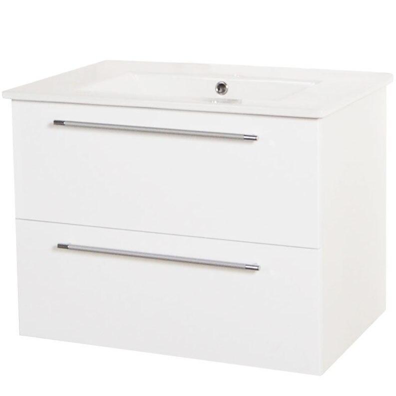Fotografie Baza mobilier si lavoar Badenmob 054, suspendat, sertare, alb, 70 cm