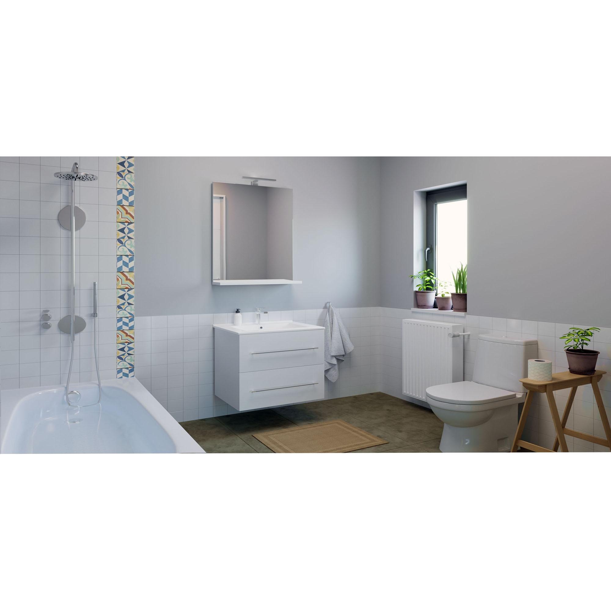 Fotografie Baza mobilier si lavoar Badenmob 054, suspendat, sertare, alb, 60 cm
