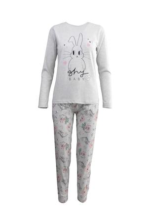 """Pijama dama, Univers Fashion, gri deschis, bluza cu imprimeu iepuri """"Shy baby"""", pantaloni cu imprimeu iepurasi si flori, XL"""