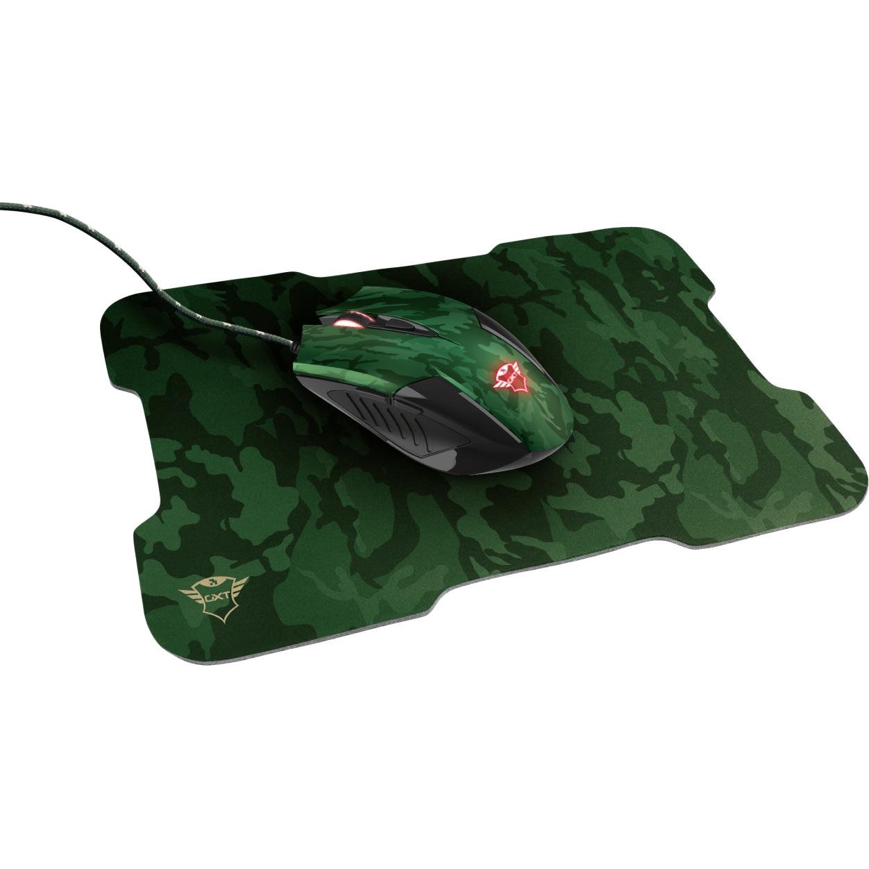 Fotografie Mouse gaming + mousepad Trust GXT 781 Rixa , Verde Camo