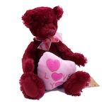 Плюшена играчка Russ Berrie Св Валентин Мече с Розов сърце, 25см, цвят Канела, 96599V2