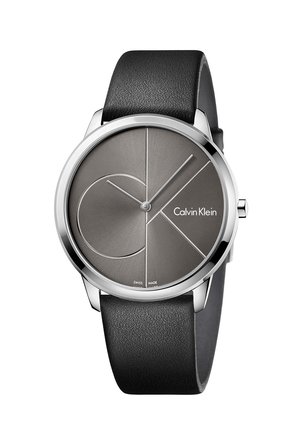 Fotografie Calvin Klein, Ceas analog cu logo pe cadran, Negru/Argintiu