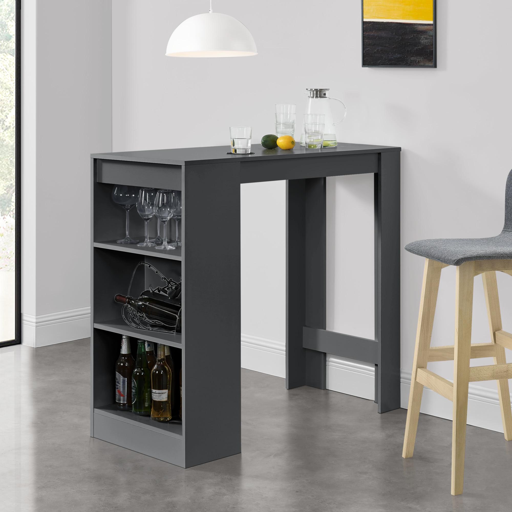 [en.casa]® Elegáns bárasztal italtartó polccal, 110 x 50 x 103 cm, Sötétszürke qM1CDc