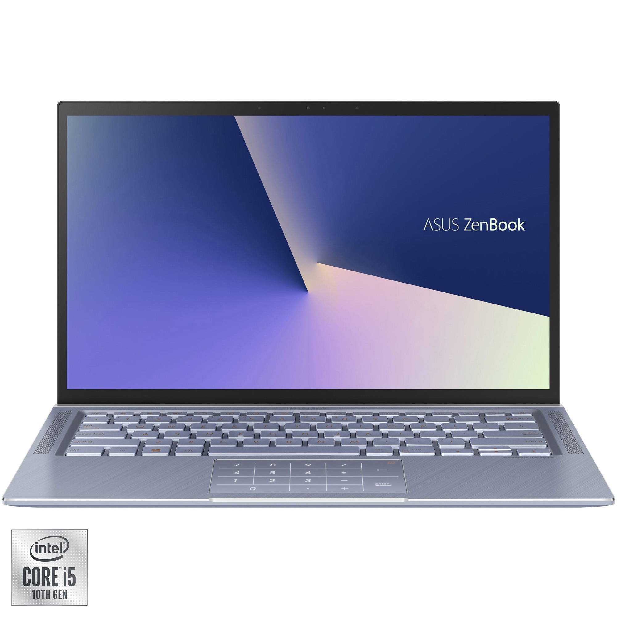 "Fotografie Laptop ultraportabil ASUS ZenBook 14 UX431FL cu procesor Intel® Core™ i5-10210U pana la 4.20 GHz Comet Lake, 14"", Full HD, 8GB, 512GB SSD, NVIDIA GeForce MX250 2GB, Free DOS, Utopia Blue Metal"