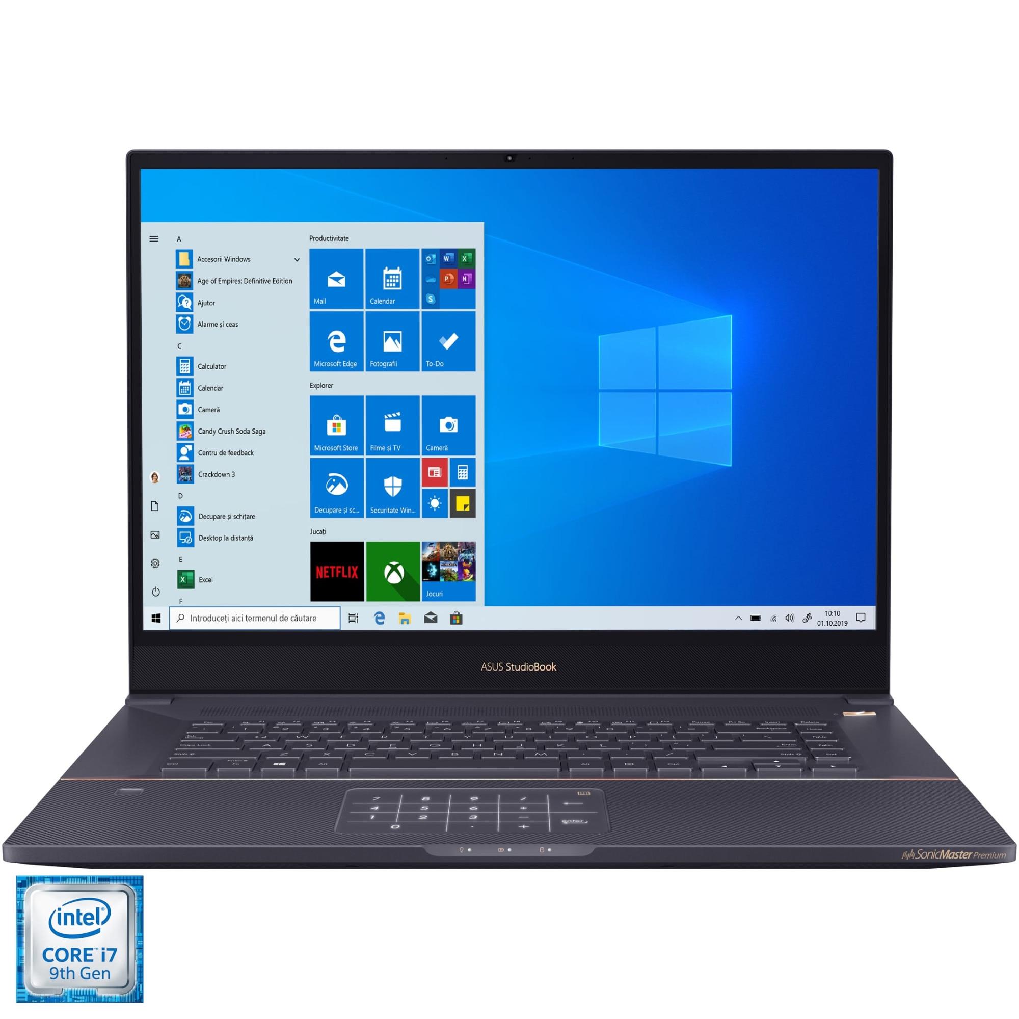 "Fotografie Laptop ASUS ProArt StudioBook 17 H700GV cu procesor Intel® Core™ i7-9750H pana la 4.50 GHz Coffee Lake, 17"", WUXGA, 32GB, 1TB SSD, NVIDIA GeForce RTX 2060 6GB, Windows 10 Pro, Star Grey"
