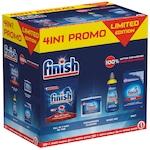 Finish 4in1 csomag gépi mosogatáshoz: mosogatógép-tabletta (48 db) + mosogatógép-tisztító (250 ml) + gépi öblítőszer (400 ml) + regeneráló só (1,5 kg)