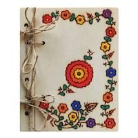 Suvenir agenda din lemn pirogravata personalizabila, Artizanat Ilsaf, flori multicolore, 15x18.5x2.5 cm