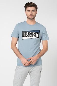 Jack&Jones, Shaun szűk fazonú organikuspamut póló logóval, Égszínkék, L