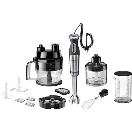 Bosch MS8CM61X1 MaxoMixx botmixer, 1000 W, 12 fokozat + turbo, fémszár, aprító, szeletelőfeltét 4 cserélhető reszelő/szeletelőbetéttel, kockázó tartozék, jégaprító kés, habverő, mixerkehely, nemesacél/fekete