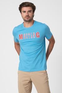 Mustang, Alex logómintás póló, Világoskék/Piros, XXXL