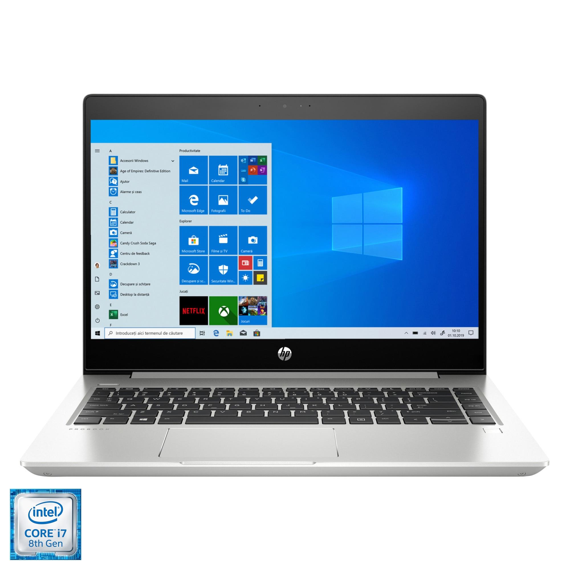 """Fotografie Laptop ultraportabil HP 440 G6 cu procesor Intel Core i7-8565U pana la 4.60 GHz, 14"""", Full HD, 16GB, 512GB SSD, NVIDIA Geforce MX130 2GB, Windows 10 Pro, Silver"""