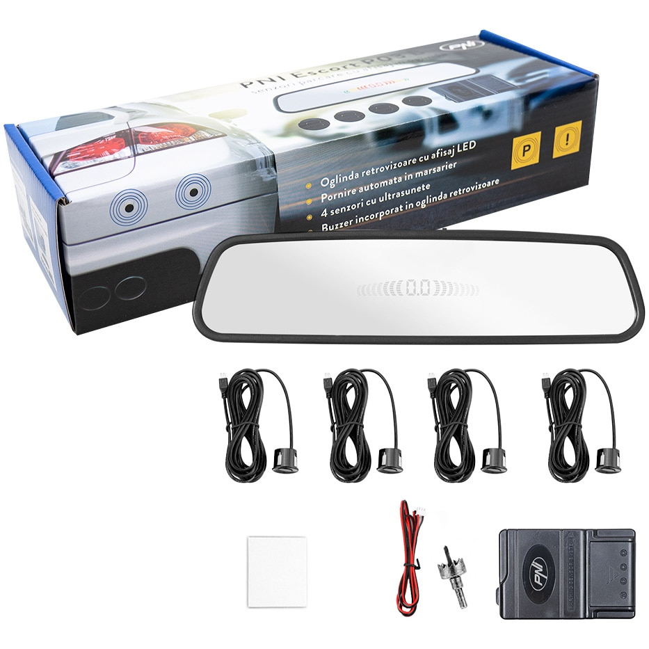 Fotografie Senzori parcare PNI Escort P03 B cu afisaj in oglinda, cu 4 receptori ultrasonici, culoare neagru, 25 mm, 12V