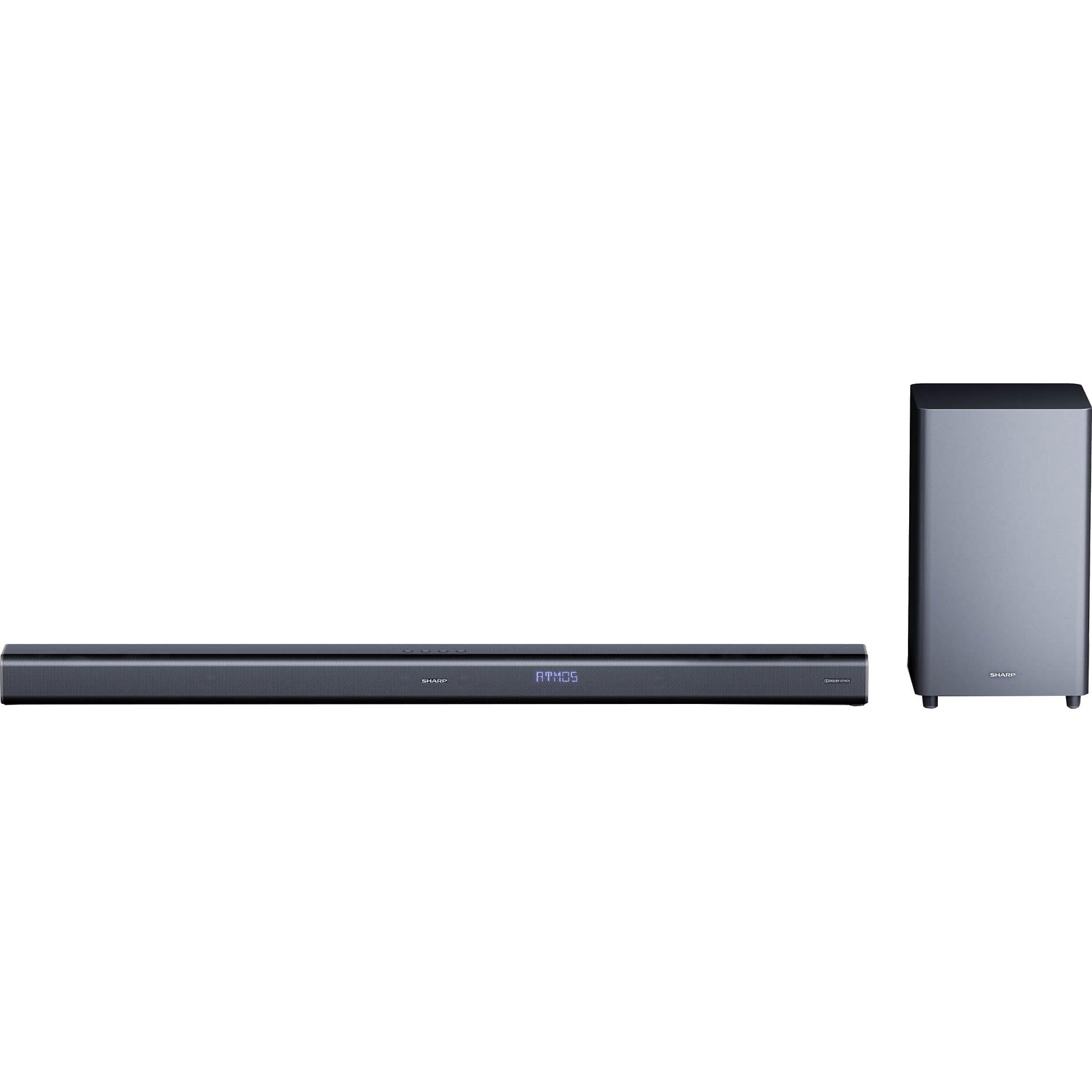 Fotografie Soundbar Sharp HT-SBW800, 5.1.2, Dolby Atmos, 570W, 4K, 3D Surround Sound, Subwoofer wireless, Bluetooth, Negru