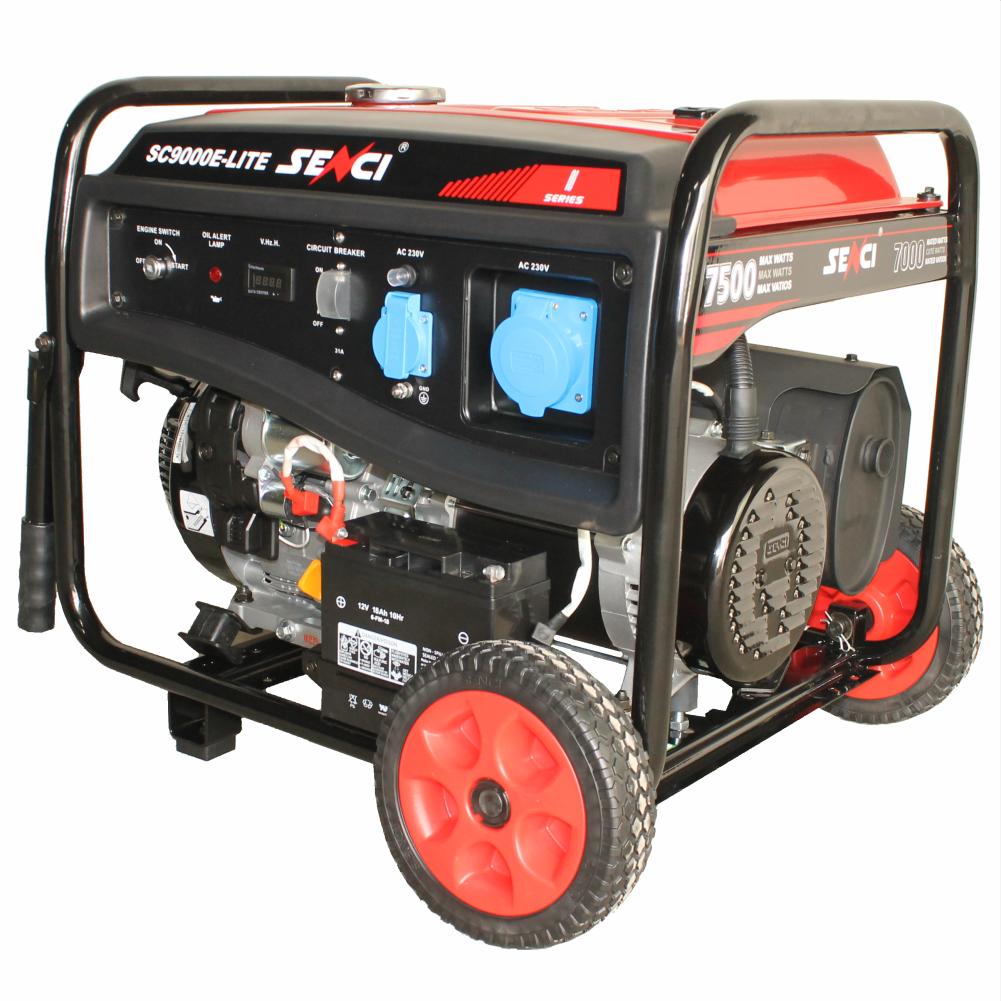 Fotografie Generator curent electric Senci SC-9000 E-LITE, 16 CP, 459 CC, 7500 W, 230 V, stabilizator de tensiune (AVR), demaraj electric, 25 l, benzina, 10.5 h autonomie maxima