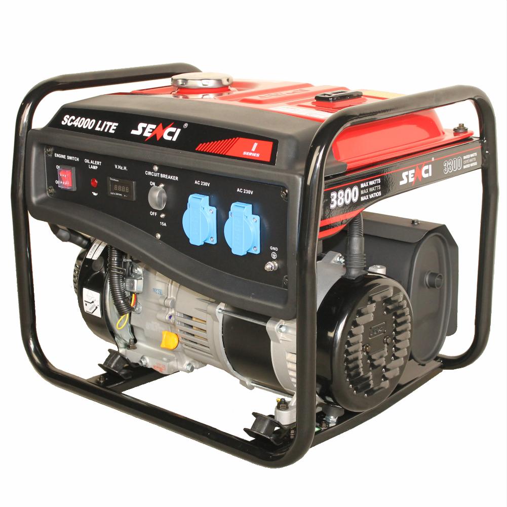 Fotografie Generator curent electric Senci SC-4000 LITE, 7.5 CP, 223 CC, 3300 W, 230 V, AVR, demaraj la sfoara, 15 l, benzina, 13.5 h autonomie maxima