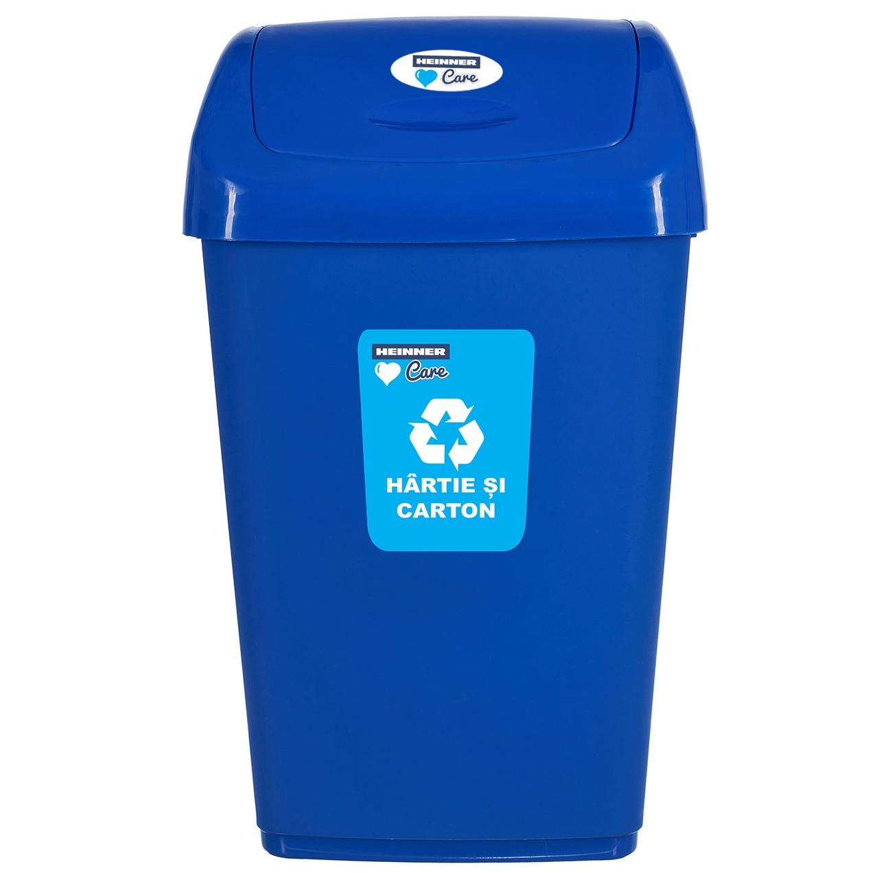 Fotografie Cos de gunoi pentru reciclare selectiva Heinner Care, capac batant , 25 L, albastru