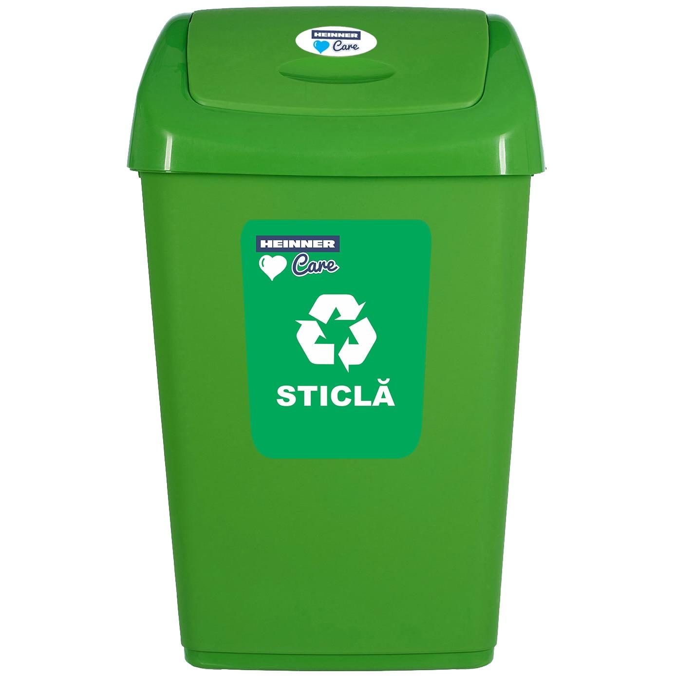 Fotografie Cos de gunoi pentru reciclare selectiva Heinner Care, capac batant , 50 L, verde