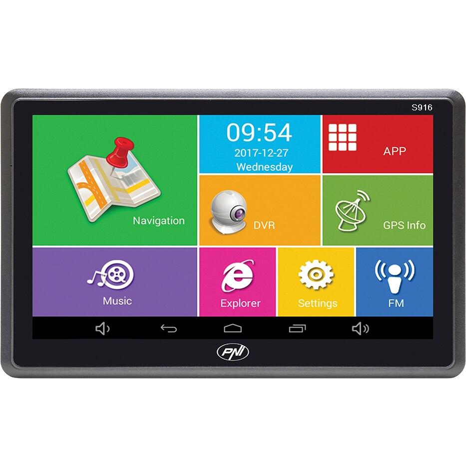 Fotografie Sistem de navigatie GPS + DVR PNI S916 ecran 7 inch cu Android 6.0, memorie 16 GB, harti Here Maps si Waze cu radarele din Romania