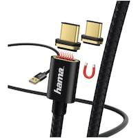 Hama Töltő/Adat kábel USB- C, 1m, mágneses, Fekete