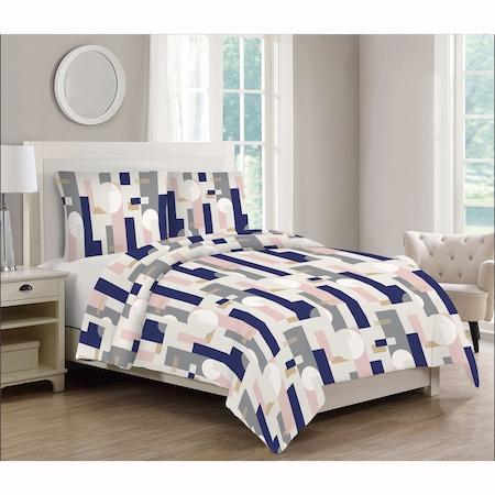 Lenjerie de pat 4 piese Kring Bauhaus, pentru 2 persoane, 144 TC, bumbac 100%, Gri/Albastru/Roz