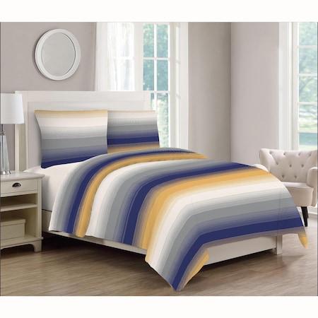 Lenjerie de pat 4 piese Kring Faded Stripe, pentru 2 persoane, 144 TC, bumbac 100%, Gri/Albastru/Galben/Alb